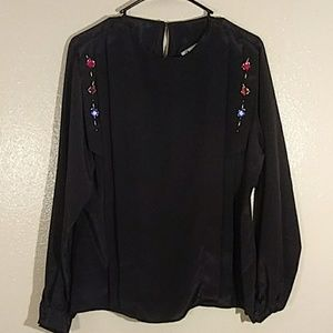 Notations black jeweled blouse